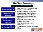 mantech summary