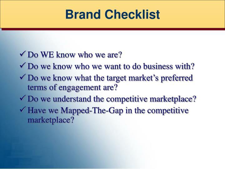 Brand Checklist