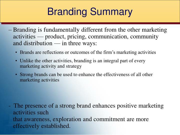 Branding Summary