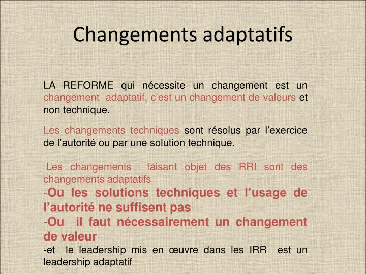 Changements adaptatifs