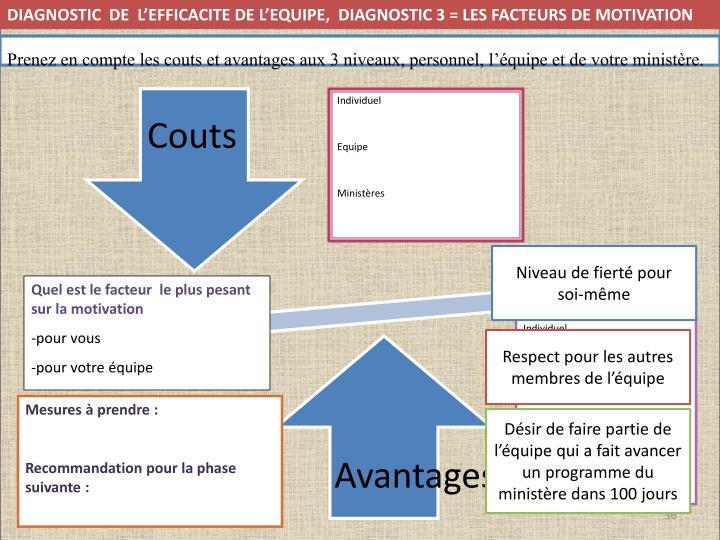 diagnostic  de  l'EFFICACITE DE L'EQUIPE,  DIAGNOSTIC 3 = les facteurs de motivation