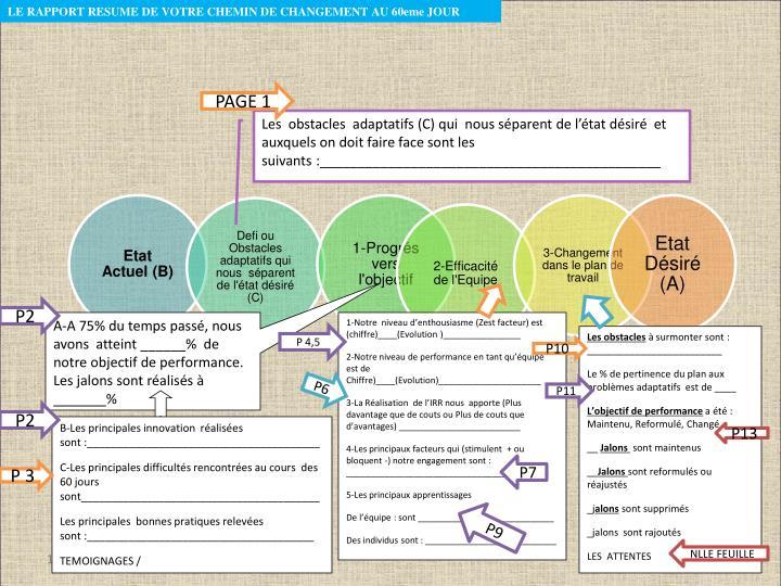 LE RAPPORT RESUME DE VOTRE CHEMIN DE CHANGEMENT AU 60eme JOUR