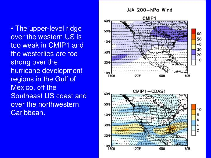 The upper-level ridge over the western US is too weak in CMIP1 and the westerlies are too strong over the hurricane development regions in the Gulf of Mexico, off the Southeast US coast and over the northwestern Caribbean.