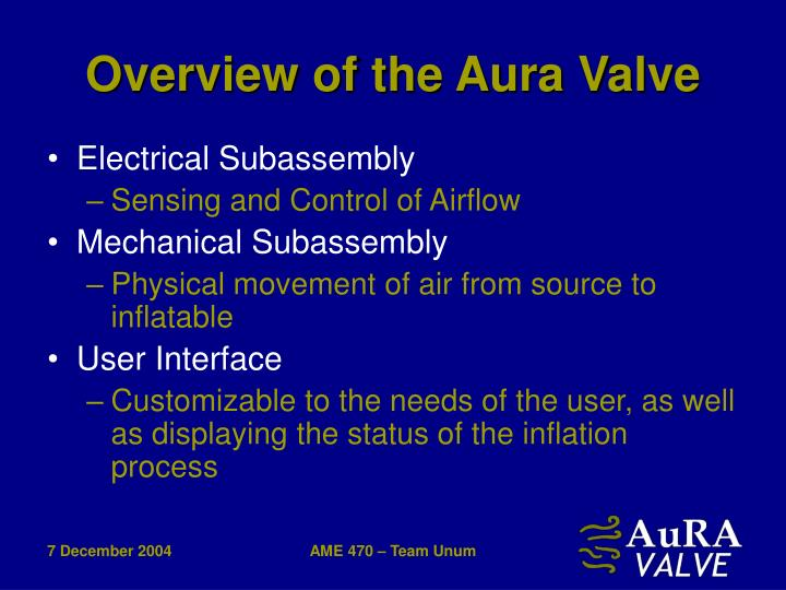 Overview of the Aura Valve