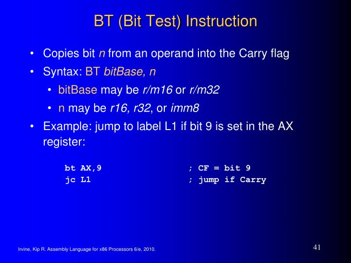 BT (Bit Test) Instruction