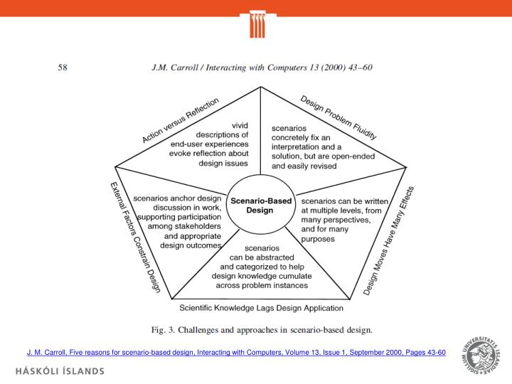 J. M. Carroll, Five reasons for scenario-based design, Interacting with Computers, Volume 13, Issue 1, September 2000, Pages 43-60