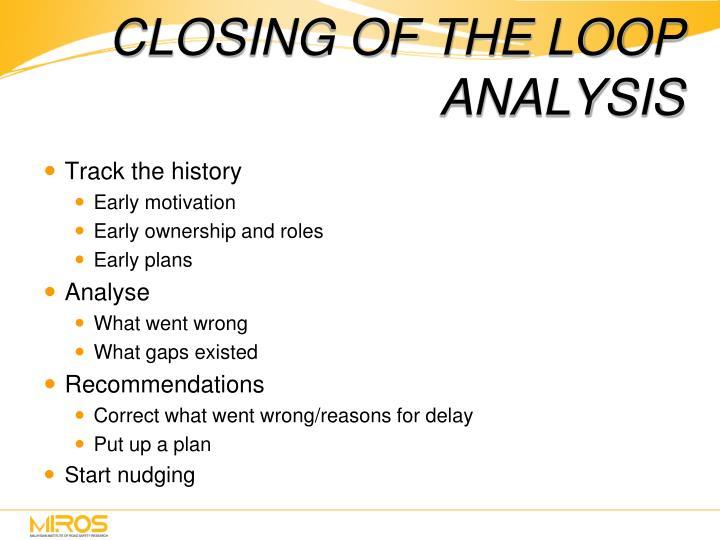 CLOSING OF THE LOOP ANALYSIS