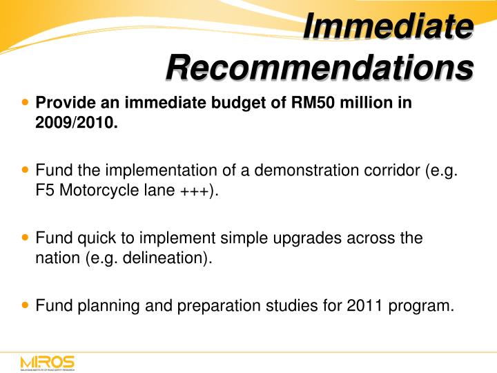Immediate Recommendations