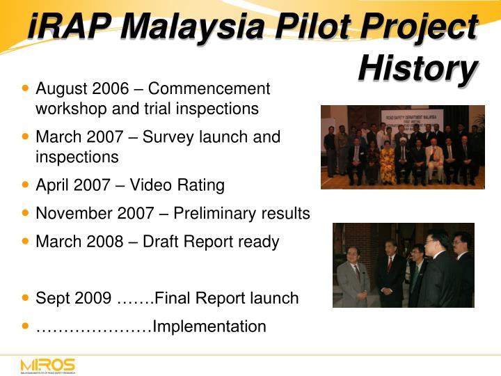 iRAP Malaysia Pilot Project History