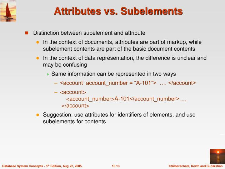 Attributes vs. Subelements