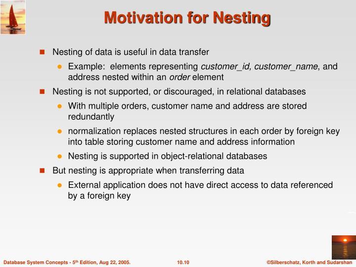 Motivation for Nesting