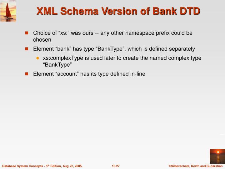 XML Schema Version of Bank DTD
