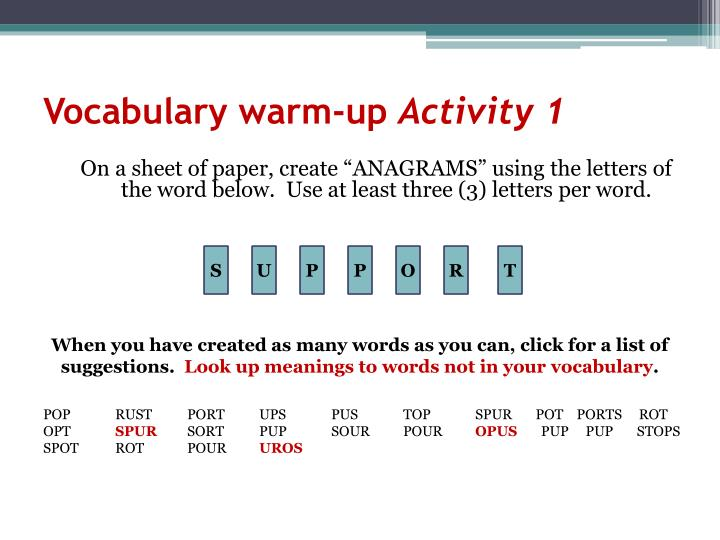 Vocabulary warm-up