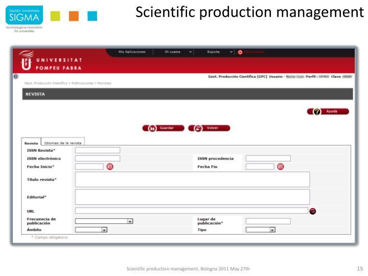Scientific production management