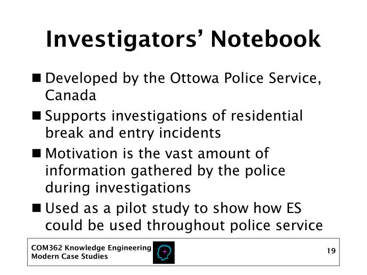 Investigators' Notebook