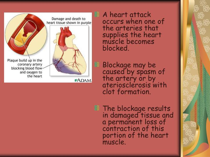 A heart attack occurs when one of the arteries that supplies the heart muscle becomes blocked.