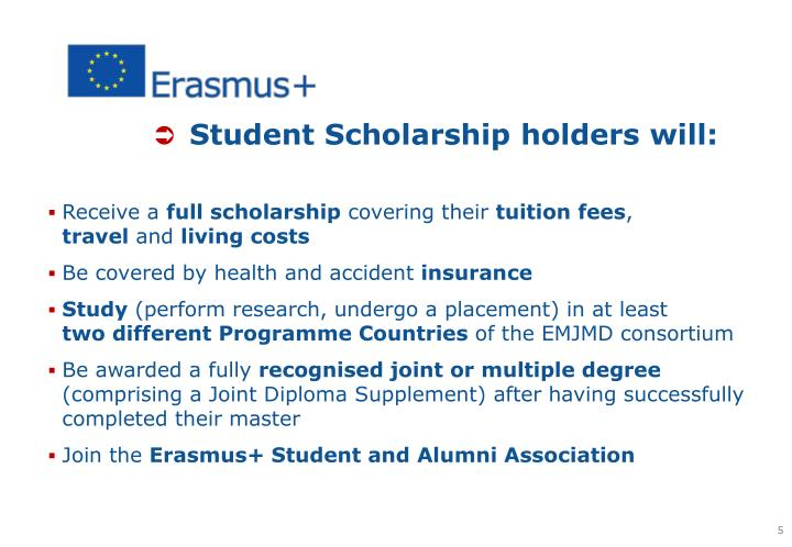 Student Scholarship holders will: