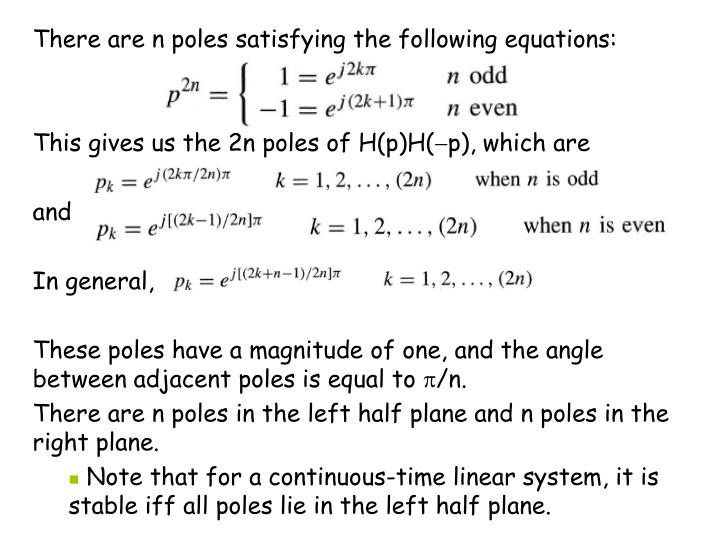 There are n poles satisfying the following equations: