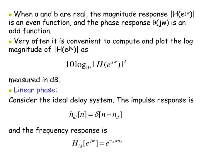 When a and b are real, the magnitude response |H(e