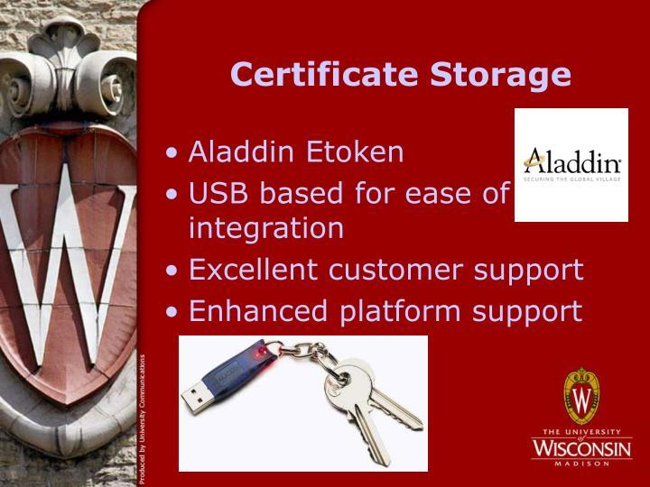 Certificate Storage