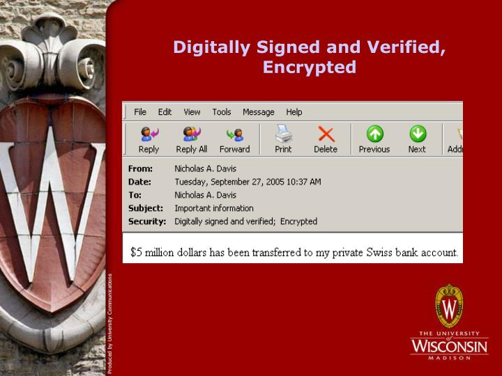 Digitally Signed and Verified, Encrypted