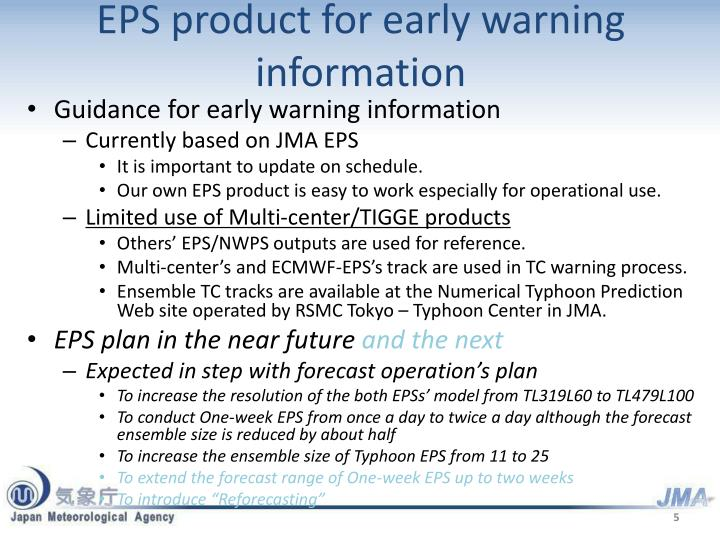 EPS product for early warning information