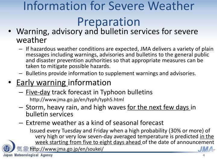 Information for Severe Weather Preparation