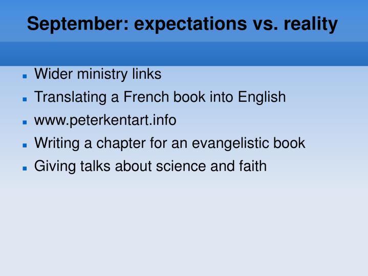 September: expectations vs. reality