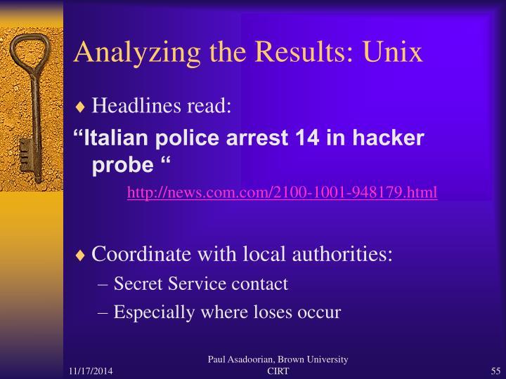 Analyzing the Results: Unix