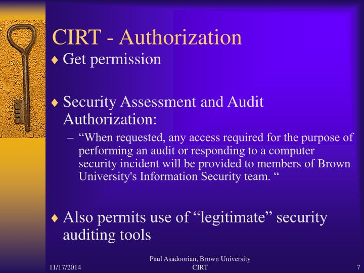 CIRT - Authorization