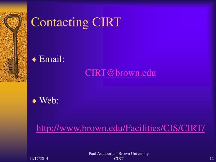 Contacting CIRT