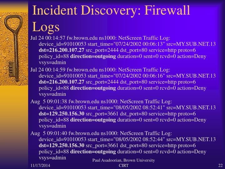 Incident Discovery: Firewall Logs