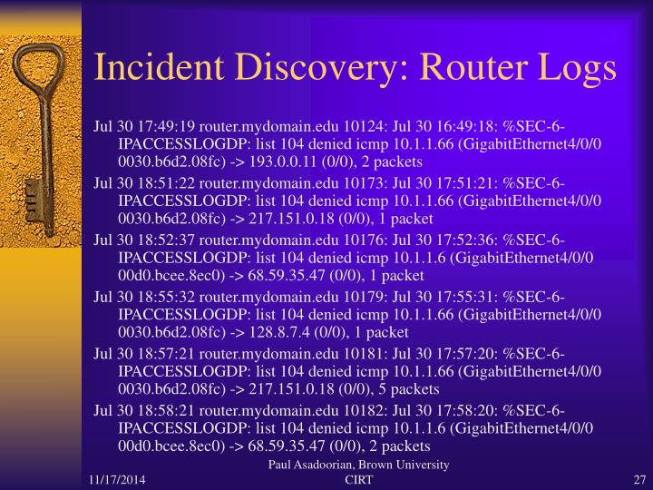 Incident Discovery: Router Logs