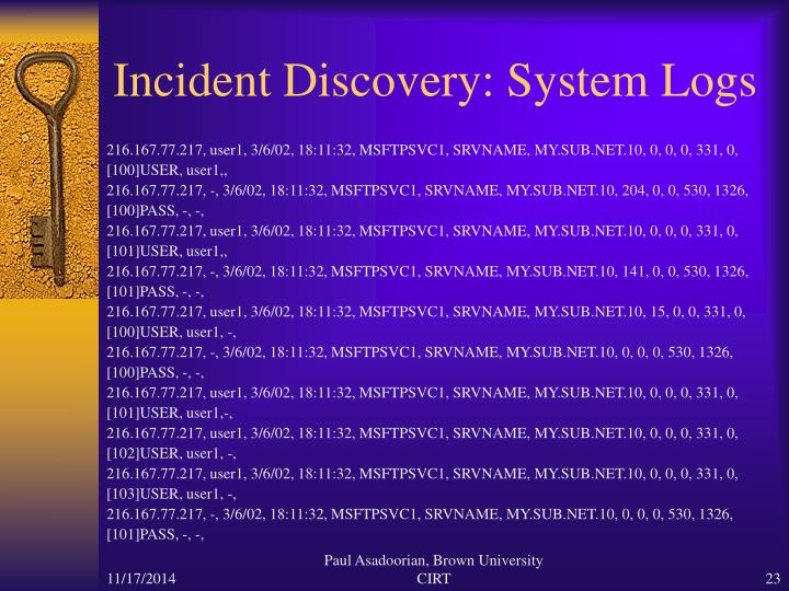 Incident Discovery: System Logs