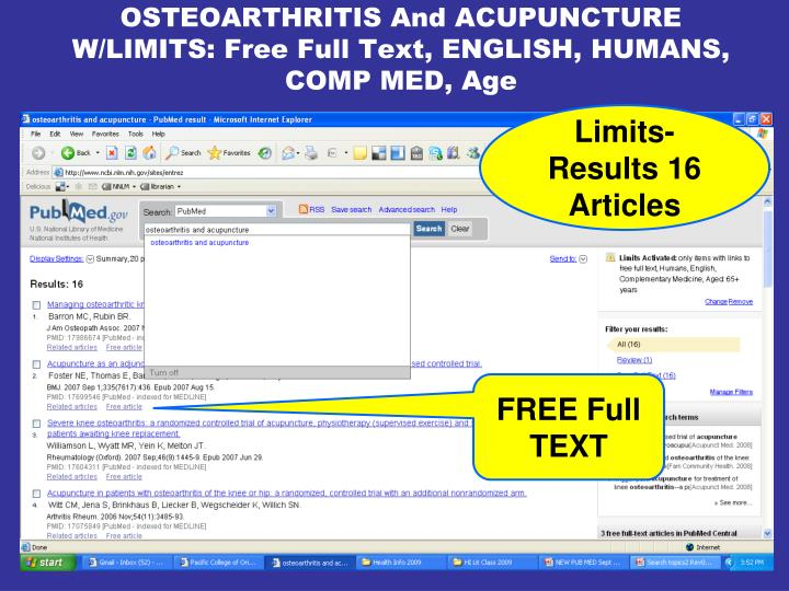 OSTEOARTHRITIS And ACUPUNCTURE W/LIMITS: Free Full Text, ENGLISH, HUMANS, COMP MED, Age