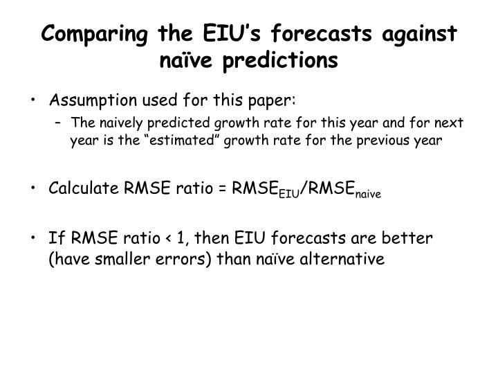 Comparing the EIU's forecasts against naïve predictions