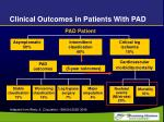 clinical outcomes in patients with pad