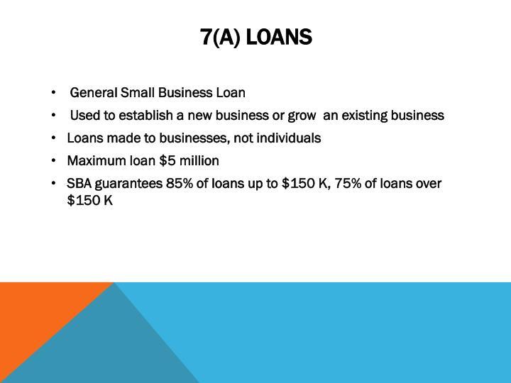 7(a) loans