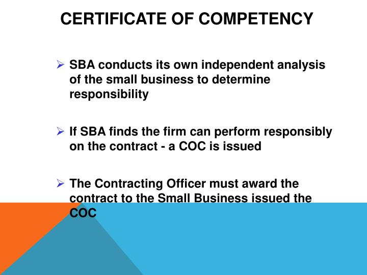 Certificate of Competency