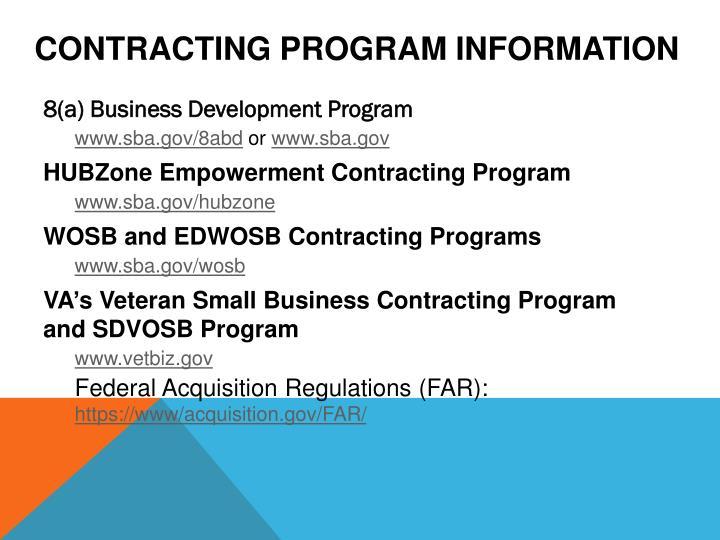 Contracting Program Information