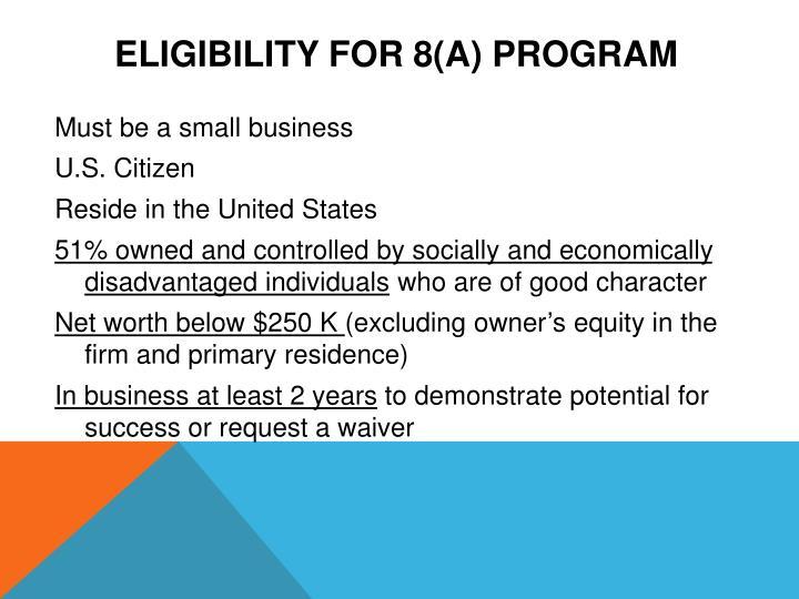Eligibility for 8(a) Program
