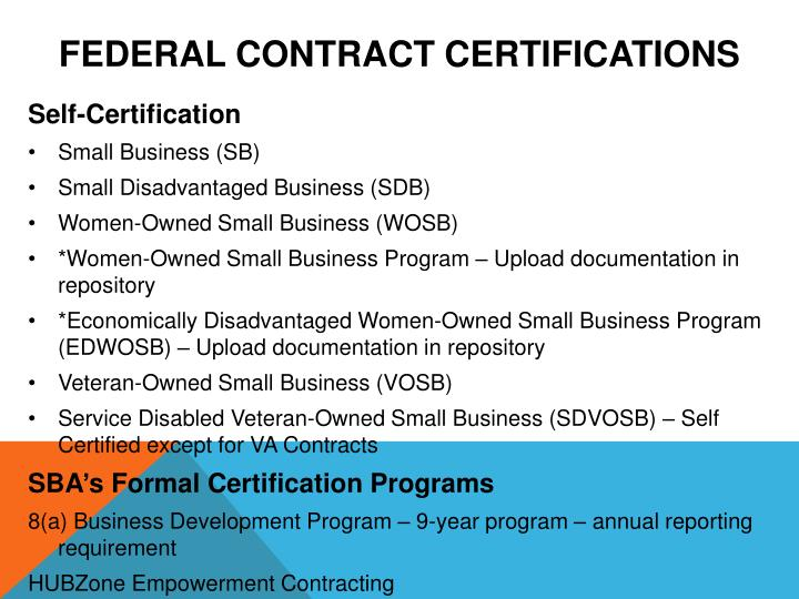 Federal Contract Certifications
