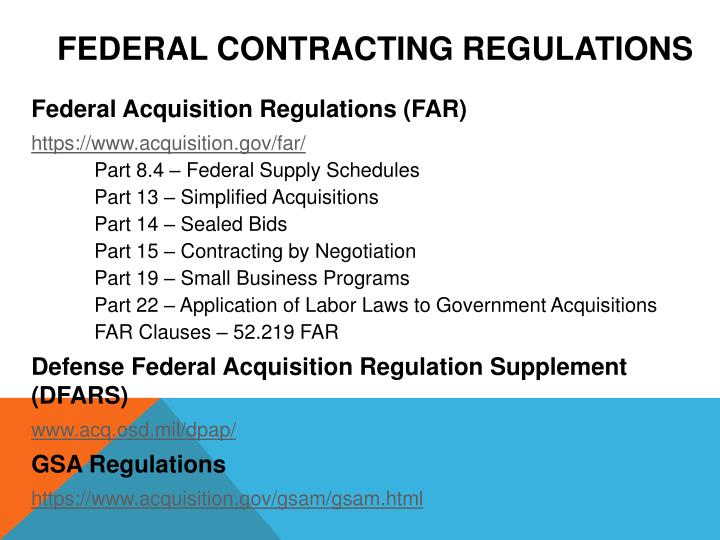 Federal Contracting Regulations