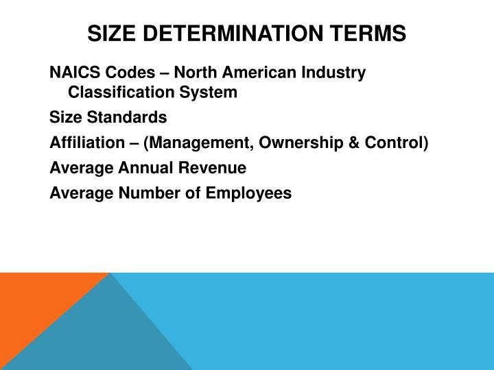 Size Determination Terms