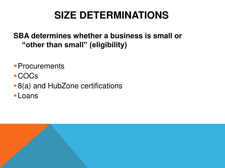 Size Determinations