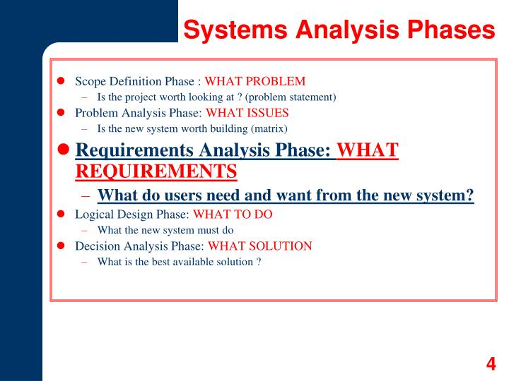 Systems Analysis Phases