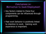 conclusions re motivation to seek employment1