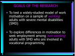 goals of the research