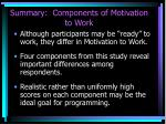 summary components of motivation to work