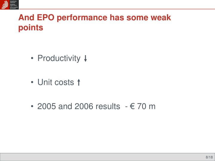 And EPO performance has some weak points